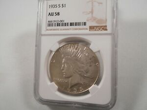 1935-S Peace Silver Dollar, NGC AU-58,  White, Nice Mint Luster,  SEMI KEY DATE