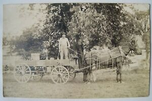 Horse Drawn Wagon; Leather Fly Net; Butter Barrel? Old early 1910s RPPC Postcard