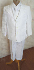 NEW Toddler BOY 3-Button 5 PCS FORMAL White Communion SUIT SET Sz 4 w/Vest