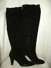Damen Stiefel Overknees breiten absatz überknie schwarz schlicht neu