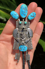 "BIG 4 3/8"" Vtg Navajo Sleeping Beauty Turquoise Kachina Sterling Silver Bolo Tie"