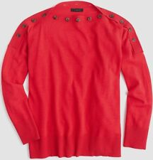 J Crew Red Button Boatneck Sweater Size S-M NWT
