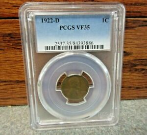 1922-D Lincoln Wheat Small Cent PCGS : graded VF35 : AWESOME!