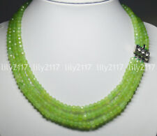 """Natural 4X6mm NATURAL PERIDOT FACETED BEADS NECKLACE 3 STRAND 18-20"""""""