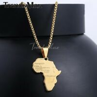 """20"""" Men Women Gold Stainless Steel Chain Gold Plated Africa Map Pendant Necklace"""