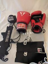 Title Classic 12oz Ounce Boxing MMA Gloves Quick Wraps Bag and Wrist Wraps Red