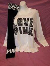 Victoria's Secret Pink Leopard Sequin Leggings Campus L/S Bling Tee Set L XL New