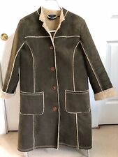 Boden US6 faux shearling coat, olive green, exposed seams EUC