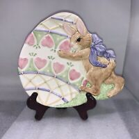 Vintage Fitz & Floyd Essentials Easter Bunny With Egg Ceramic Dish Plate Pink