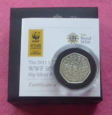 2011 ROYAL MINT SILVER WWF 50TH ANNIVERSARY 50P FIFTY PENCE  PROOF COIN BOX COA