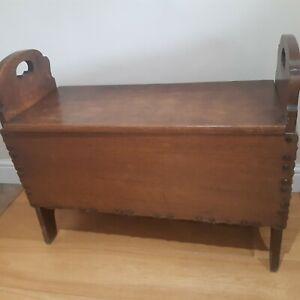 Vintage Solid Wooden Storage Trunk Seat