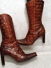 DONALD J PLINER  ALLIGATOR Boots croc leather high heel size 8 M