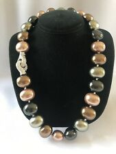 PEARL Chunky Colored Knotted Faux Pearl Necklace With Fancy Rhinestone Clasp NOS