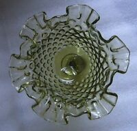 FENTON GREEN GLASS HOBNAIL RUFFLED COMPOTE FOOTED CANDY BOWL CHRISTMAS DECOR!