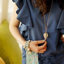 Colorful Women Hot Air Balloon  Statement Pendant Fashion Long Chain Necklace LD