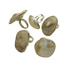 Wholesale Lot 8 Mixed Adjustable Iridescent Blister Pearl Shell Cocktail Rings