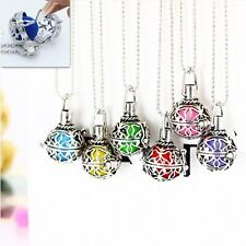 New Aromatherapy Locket Essential Oil Diffuser Necklace Fragrance Retro Silver