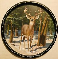"Vintage Moosehead Lake Maine Souvenir 11"" Metal Tray 12 Point Buck"