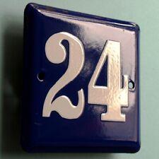 HAUSNUMMER 24 = Altes Emailschild um 1955 PERFEKT Eingang Haustür Türschild FETT