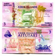 COOK ISLANDS 3 DOLLARS 1992 P 7 AITUTAKI UNC