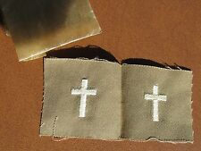 WW2 US Army Officer collar insignia matched pair Chaplain  on tan summer twill