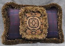 "Ralph Lauren Rutherford Park Tapestry & Purple Plaid Custom Pillow  15"" x 11"""