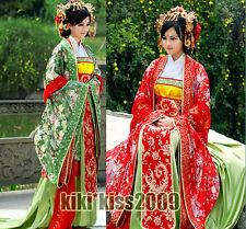 China Kimono Tan Dynasty Brocade Green/Red Gorgeous Wedding Han Fu Full Dress