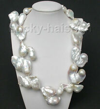 "ONLY! huge 19"" 49mm white Reborn keshi pearls necklace filled gold clasp"