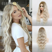 Element Long Wave Wig Blond Ombre Gray Hair Wigs Middle Part for Woman Synthetic