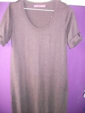 NEXT BROWN SHORT SLEEVED COTTON MACHINE KNITTED LONG DRESS WITH BELT SIZE 12
