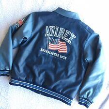 Avirex Faux Leather Bomber Jacket Mens size Extra Large American Flag Logo