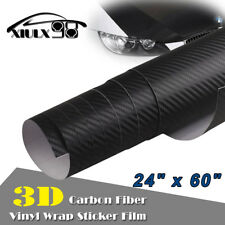 "*24""x60"" 3D BLACK CARBON FIBER Self Adhesive Vinyl Sticker Wrap Hood Roof Trunk"