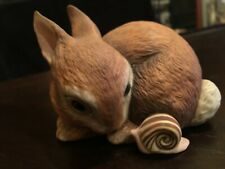 Adorable Rabbit and Snail Figurine Slowpoke 1984 by Deborah Bell Jarrett