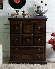 Wood Chest of 8 Drawers Storage Antique Vintage Home Office Furniture Decor