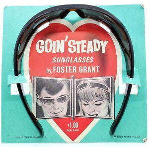 VINTAGE 60's NEW IN BOX FOSTER GRANT GOIN' STEADY WRAP AROUND BROWN SUNGLASSES