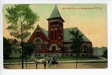 Methodist Church—Morgantown WV Rare Antique PC Horse & Carriage ca. 1910