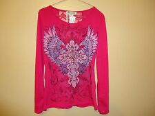 NWT WOMEN'S PINK BLING LONG SLEEVE SHIRT W/ LACE BACK COWGIRLS & DIAMONDS SIZE M