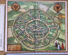 Colour Map of Aachen, Germany: 1576 by Braun & Hogenberg REPRINT 1500's
