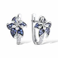 Pretty Stud Earrings for Women 925 Silver Blue Sapphire Earrings A Pair/set