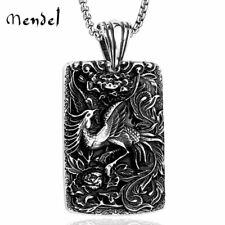 MENDEL Vintage Egyptian Phoenix Pendant Necklace Men Stainless Steel Bird Silver