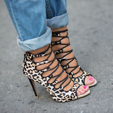 ZARA Leopard High Heels Leather Ankle Lace Up Boots bloggers sold out US6.5 EU37