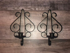 New listing 2 Vintage Home Interior Black Metal Wrought Iron Scroll Sconces Candle Holder