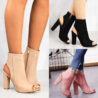 Women's Block High Heel Sandals Open Toe Ankle Boots Platform Chunky Party Shoes