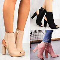 Women Block High Heel Sandals Open Toe Ankle Boots Platform Zipper Party Shoes