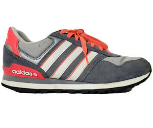 Classic Style Adidas Neo Comfort Footbed Grey White Pink Tennis Shoes Size 8.5