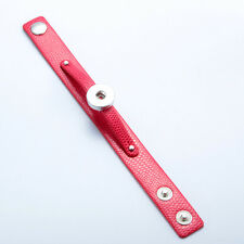Hot Chunk Punk Leather Drill Snap Bangle Bracelets Fit 18mm Snaps Charm Button