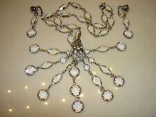 Vintage Schiaparelli Crystal Bezel Open Back Chandelier Necklace Earrings Set