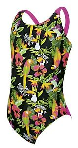 Zoggs Junior Girls Paradise Flyback Swimming Costume Ages 14 Years NEW