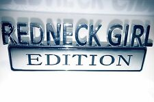 REDNECK GIRL EDITION TRUCK EMBLEM car LOGO bike decal SIGN RED NECK FULL CHROME
