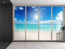 Blue Ocean on a Clear Sunny Day Viewed From Sliding Door - Wall Mural - 66x96
